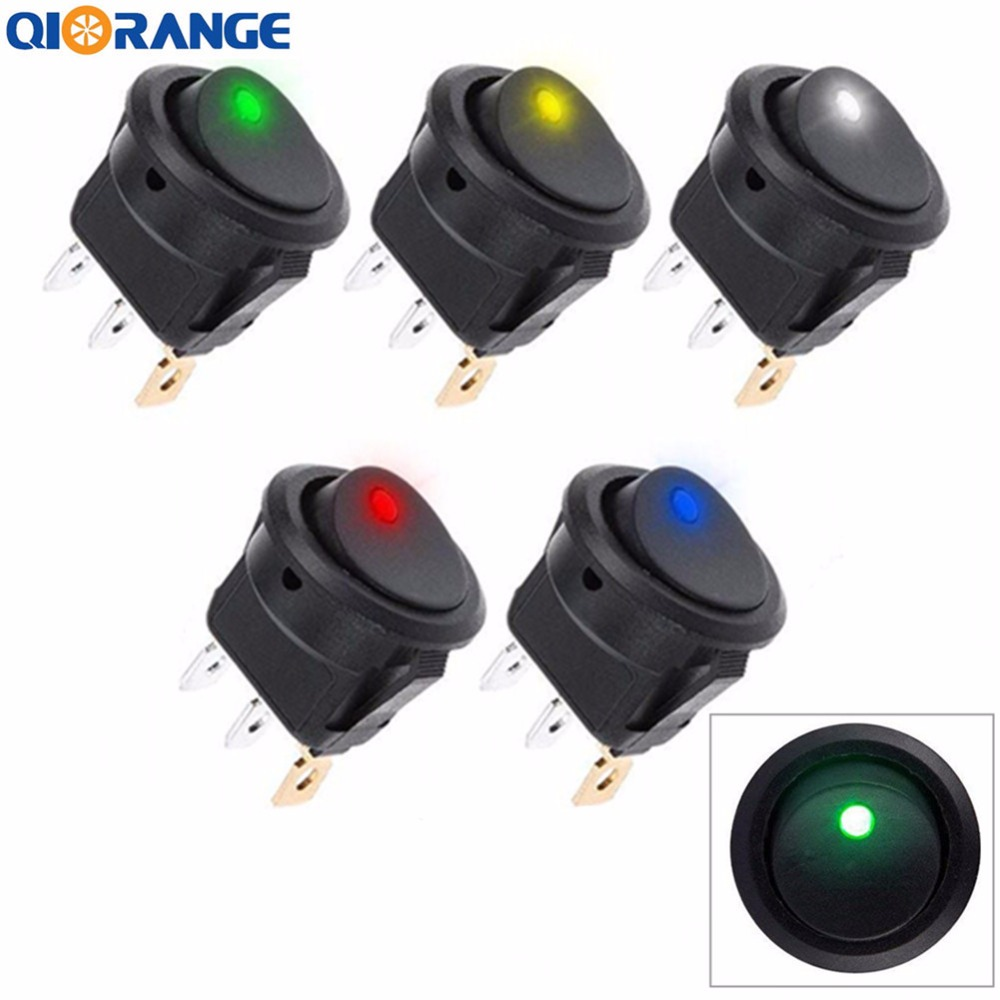 5 Pcs 12v 20a Auto Illuminated Round Rocker Switch Button On Off Spst Weatherproof Switches Toggle