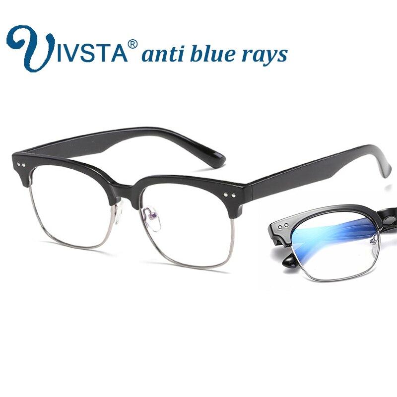 IVSTA Anti Blue Rays Computer Glasses Men Gaming Semi Rim Optical Frame Spectacle Myopia Reading UV400 Transparent Yellow Lenses