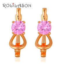 Crystal Earring Zircon Fashion Jewelry Gold Girls Pink for Teen Tone Party Clip JE1063