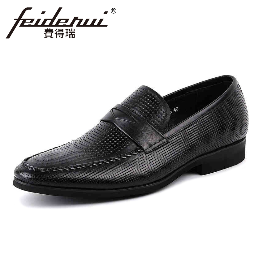 цены Summer Style Genuine Leather Mens Loafers Round Toe Slip on Breathable Man Office Flats Height Increasing Casual Shoes YMX59