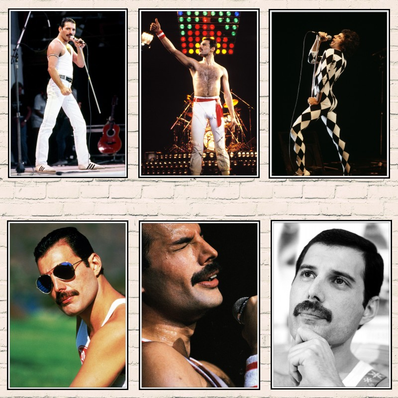 Queen Band Music Poster Freddie Mercury Singer Art Classic White Coated Posters Home Room Decor Wall Sticker 2001