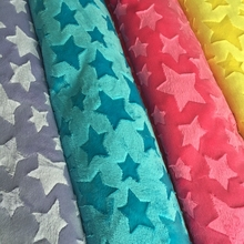 Stars Embossed Minky Fleece Fabric 1 Meter Micro Mink DIY Sew Blanket Toy Fabric