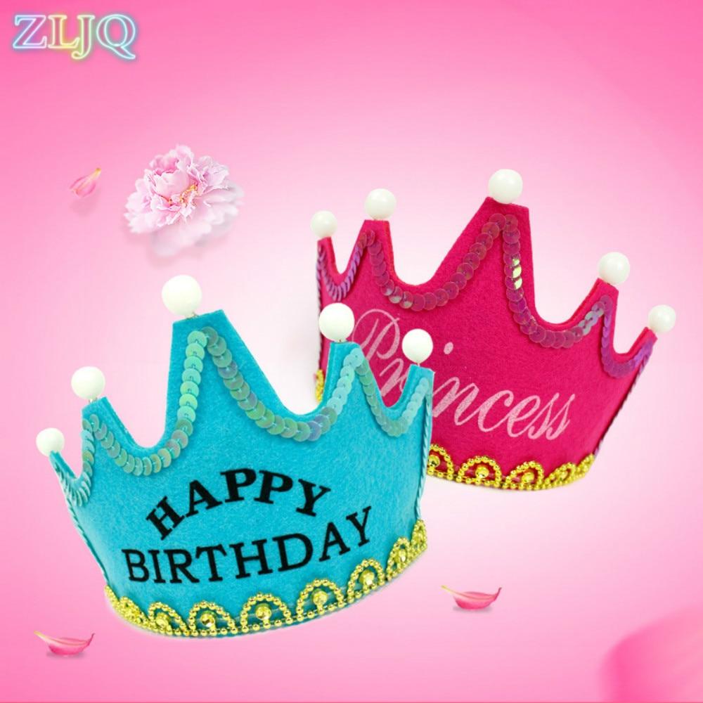 ZLJQ Heureux D anniversaire Cap Coloré Non tissé Chapeau Roi Princesse Lumineux Led Anniversaire Cap Chapeau Nouvelle Année Cade