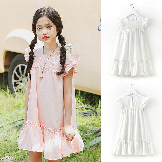 aeadf2f1b530 Cute Chiffon Dresses for girls Teenage Solid Pink  White Straight Clothing  kids Ruffles short sleeve clothes for 4-13y age