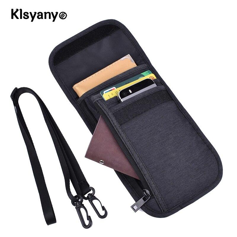 Klsyanyo Waterproof RFID Blocking Card Holder Multifunction Neck Hanging Passport Holder Pouch Travel Wallet For Men & Women