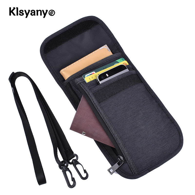 03d80487a7a6 US $8.24 45% OFF|Klsyanyo Waterproof RFID Blocking Card Holder  Multifunction Neck Hanging Passport Holder Pouch Travel Wallet for Men &  Women-in Card ...