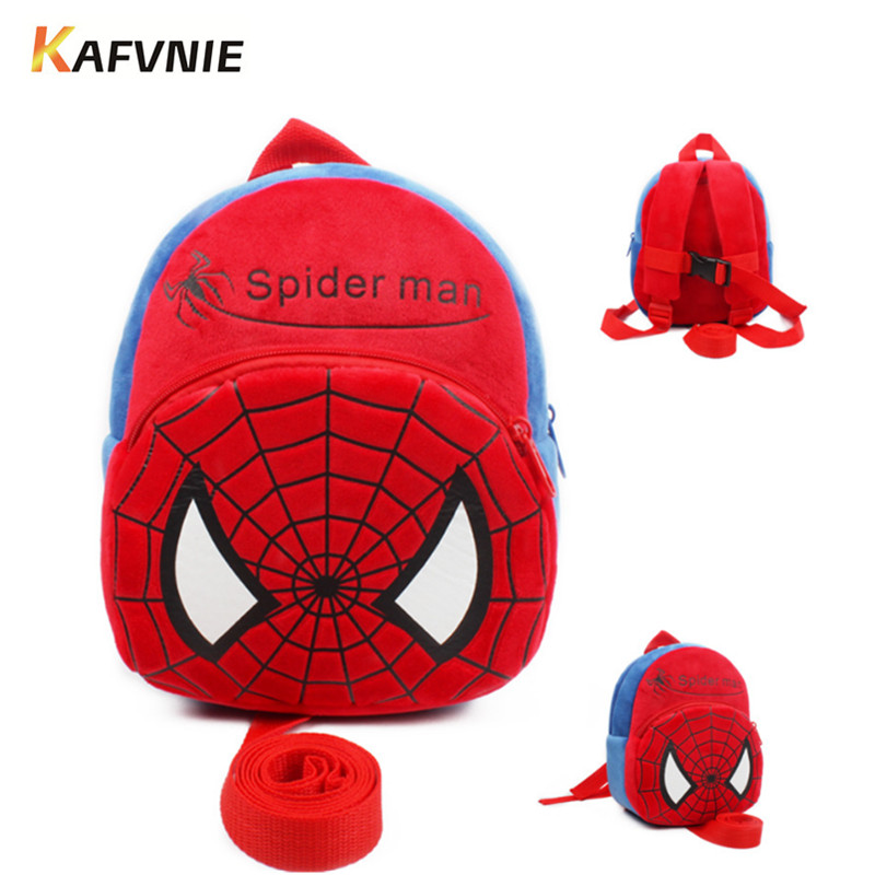Anti-lost Cartoon Kids Plush Backpacks Baby Mini Schoolbag Spiderman kindergarten Backpack Cute Children School Bags Girls Boys