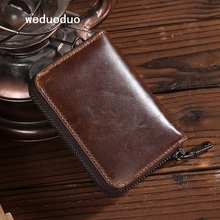 Tarjeteros Vintage de cuero de vaca diseño de acordeón de moda ID Bank Card Cases monedero de alta calidad tarjeteros de marca