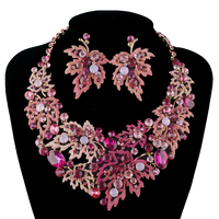 Fashion wedding Necklace sets maple leaf style Necklace czech crystal bridal Jewelry sets Women party dress Jewelry accessories