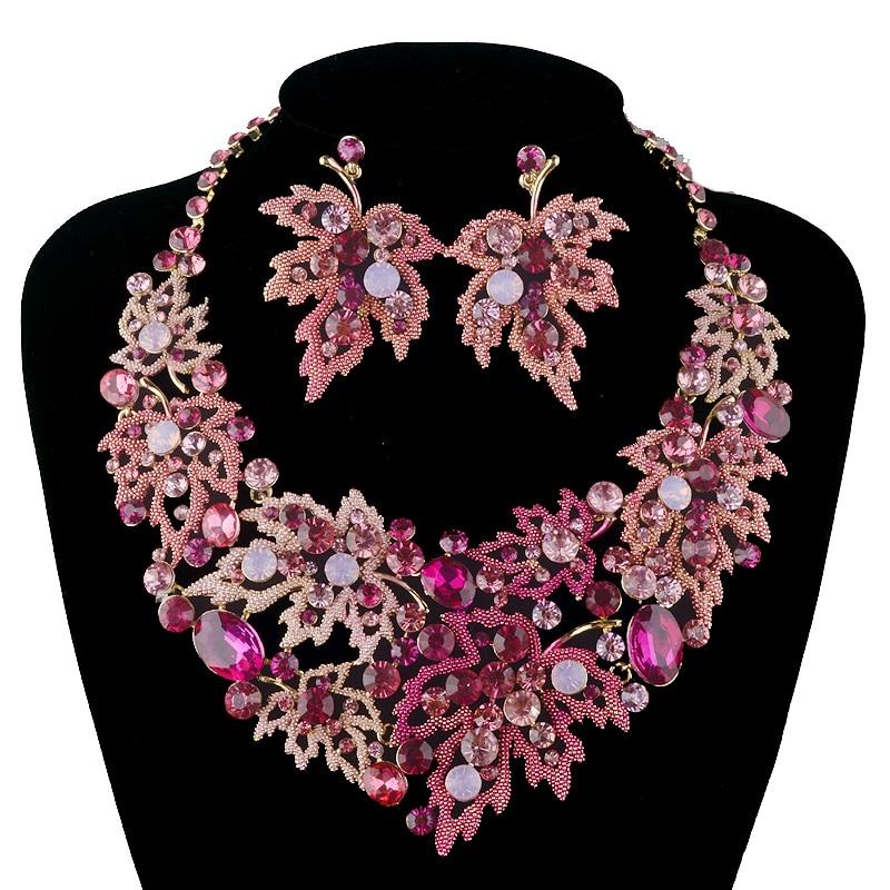 Busana pernikahan kalung set, Gaya daun maple kalung, Kristal ceko, Set perhiasan pengantin, Gaun pesta wanita aksesoris perhiasan