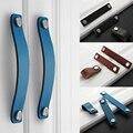 Handgemachte Leder Pull Griff Europa Stil Weichen Minimalistischen Tür Schrank Schublade Küche Schrank Kommode Knöpfe Möbel Hardware