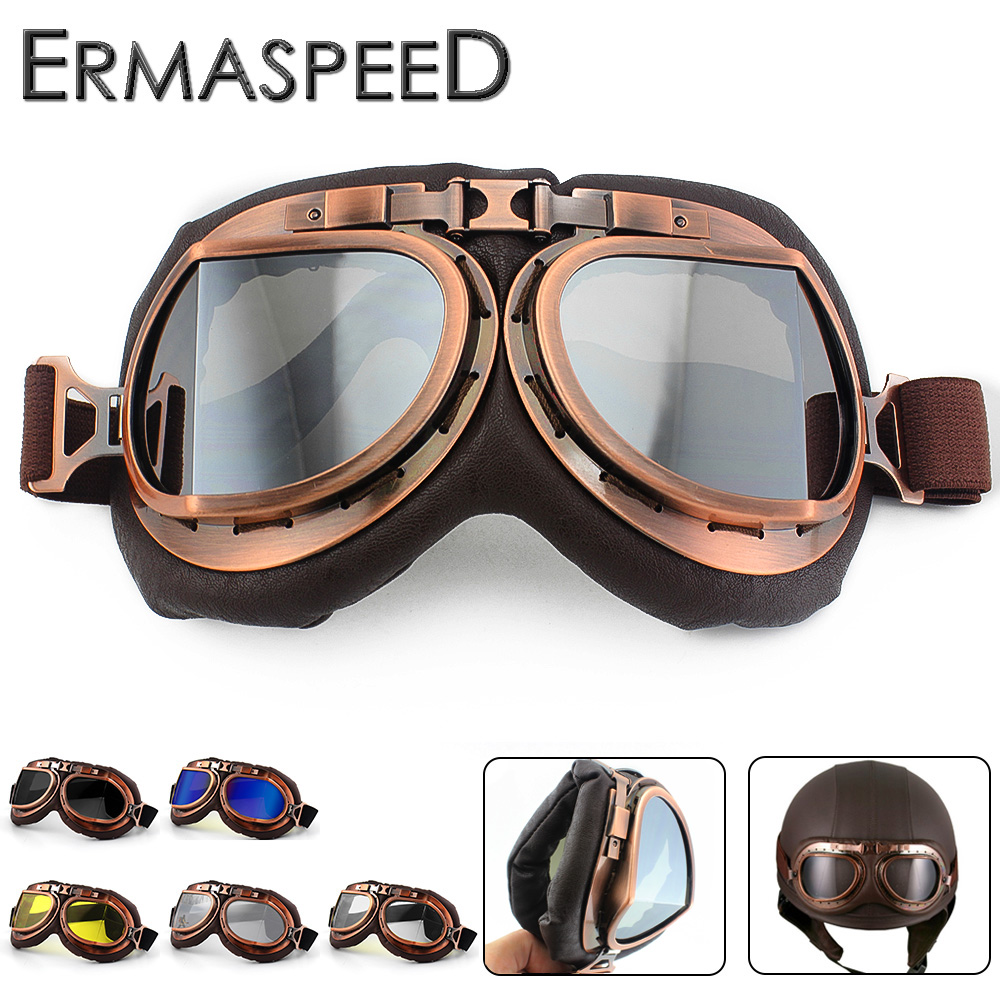 Vintage Motorcycle Helmet Goggles Pilot Aviator PU Leather Riding Eye Wear Copper for Harley Cruiser Chopper Cafe Racer Triumph