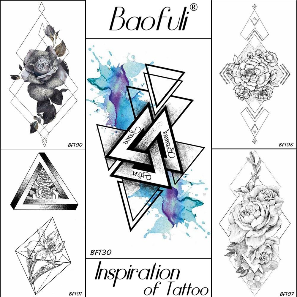 BAOFULI 3D Geometric Triangle Temporary Tattoo Watercolor Transferable Arm Legs Tatoos Blue Body Art Drawing Fake Tattoo Sticker