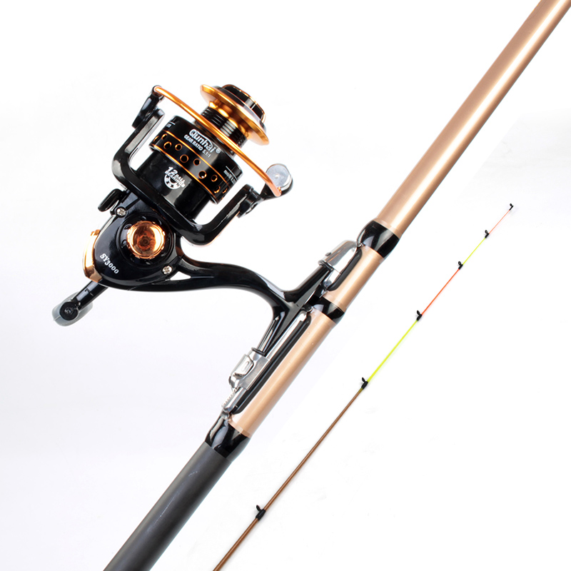 High Strength Super Hard Boat/raft Rod Solid Ultra Light High Carbon Fishing Rod 1.3/1.5/1.8/2.1m Stream Hand Rod with Drum Reel