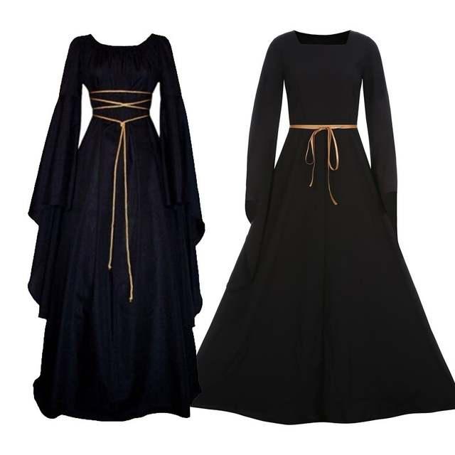 b6c3e7a909ebc Fashion Bandage Long Dress Women Lady Peasant Dresses Medieval Renaissance  Vintage Long Sleeve Girl Dress