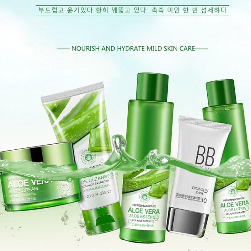 BIOAQUA Aloe Vera Beauty Care Skin Whitening Repairing, Moisturizing , Cleansing Pores Anti Acne Skin Care Set 3