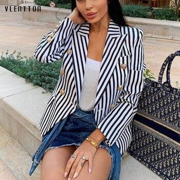 2019 Spring autumn Women's Jacket Blazer Coat Double Breasted Long Sleeve Short Office Blazer Women Striped Slim Blazer Feminino цена 2017