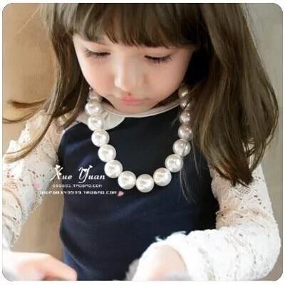 Vis en Plastique Fermoir Blanc Simple Brin faux collier de perles D1G1