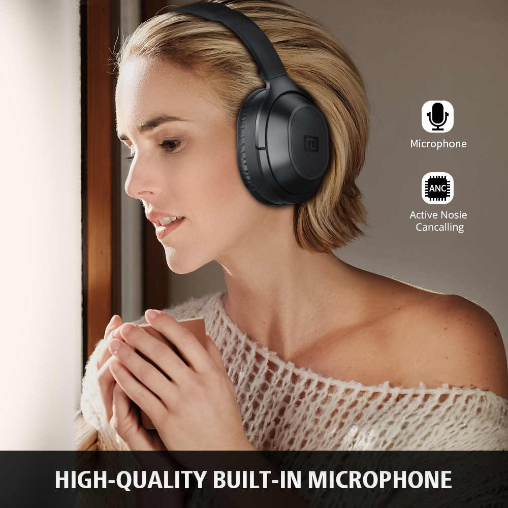 Langsdom BT25 aktywnych słuchawki z redukcją hałasu bezprzewodowy Bluetooth 38 godzin odtwarzania ANC Bluetooth zestaw słuchawkowy do gier dla PUBG Overwatch