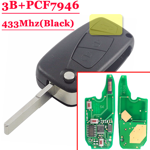 (1piece)3 button flip Remote Key 433mhz for FIAt 500 Panda Punto Bravo key with PCF7946 chip for fiat punto fiat 500 stilo panda small hole ventilate wear resistance pu leather front