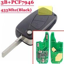 (1piece)3 button flip Remote Key 433mhz for FIAt 500 Panda Punto Bravo key with PCF7946 chip