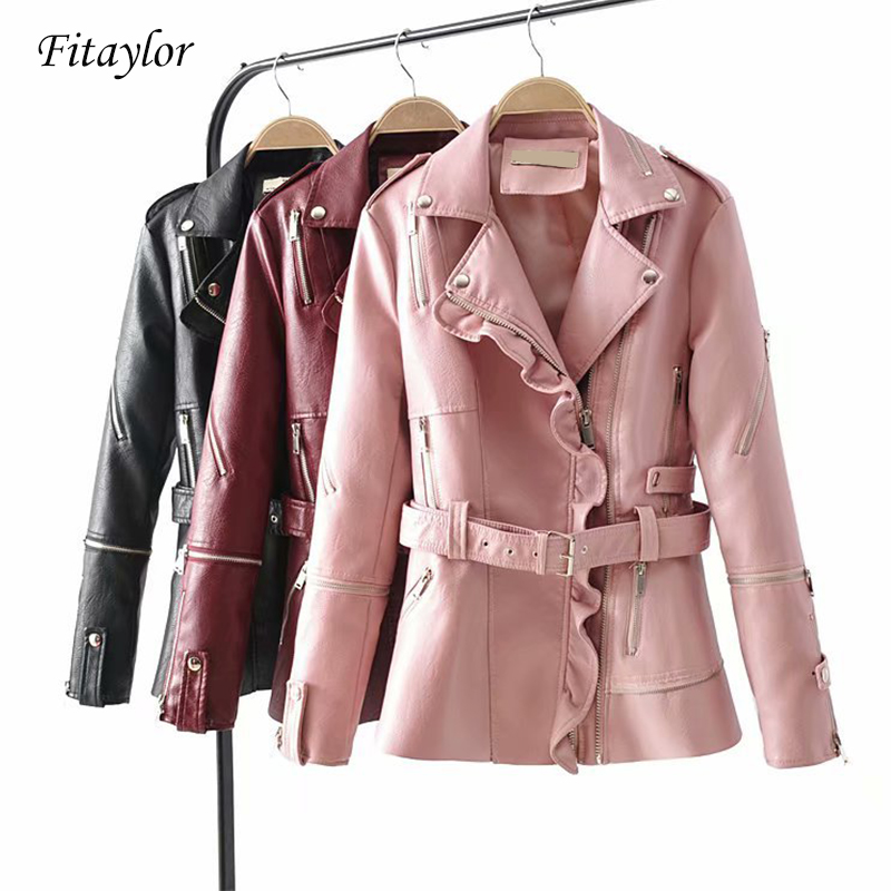 Fitaylor 2019 Long Faux   Leather   Jackets Women Pu   Leather   Motorcycle Coat Winter Autumn With Belt Zipper Bomber Outerwear