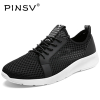 PINSV Summer Shoes Men Breathable Running Shoes Sneakers Men Sport Shoes Krasovki Men Sneakers Black Zapatillas