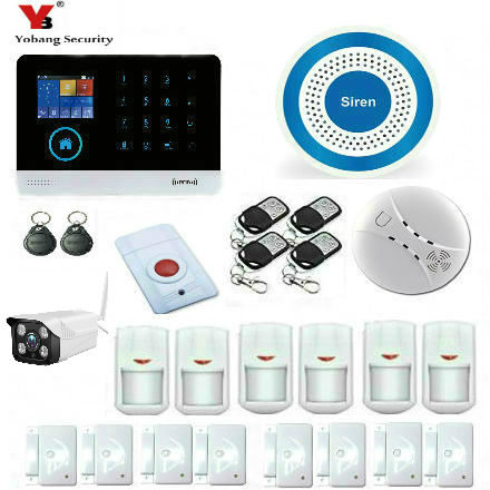 YobangSecurity WIFI GSM Wireless RFID Home Security Alarm System with Outdoor IP Camera Wireless Siren Android IOS APP Control yobangsecurity touch keypad wifi gsm gprs rfid alarm home burglar security alarm system android ios app control wireless siren