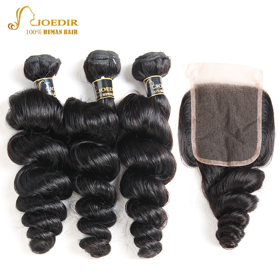 Joedir Loose Wave Bundles With Closure Peruvian Loose Wave Hair Bundles With Closure Human Hair Bundles With Closure Non Remy