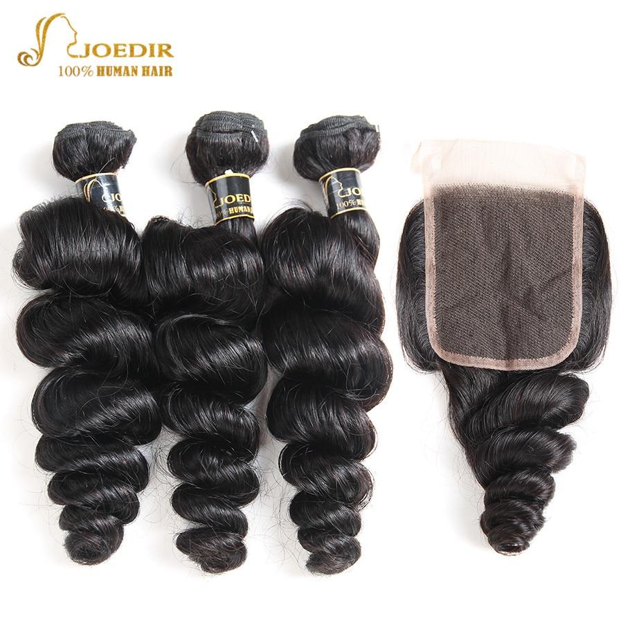 Joedir Loose Wave Bundles With Closure Peruvian Loose Wave Hair Bundles With Closure Human Hair Bundles With Closure Non Remy
