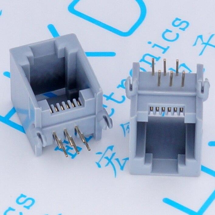 100PCS RJ11 socket Gray RJ11 telephone 90 degrees 6pin crystal female 6p6c socket 50pcs rj11 socket telephone 90 degrees 6pin crystal female 95001 6p6c socket