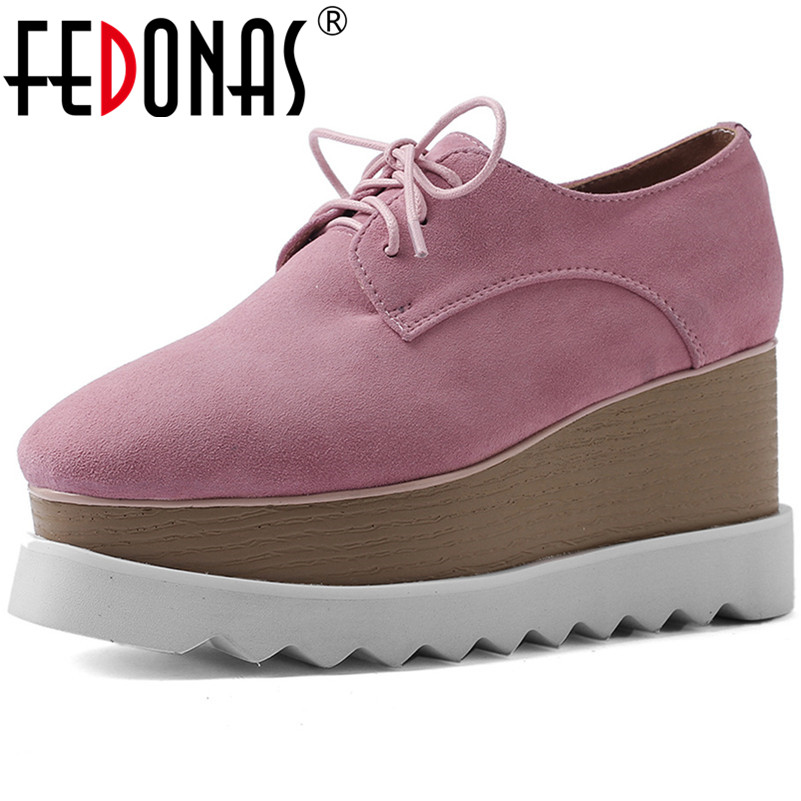 FEDONAS New Fashion Flats Platforms Spring Summer Casual Shoes Woman High Quality   Suede     Leather   Martin Shoes Woman Lace Up Flats