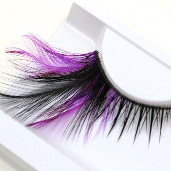 YOPKN Purple+Black Fake Eyelashes Stage Catwalk Modeling Eye Lashes Makeup Party Art Exaggerated Fashion Eyelashes 1 Pair