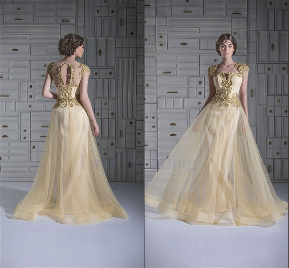 Most Beautiful A-line Long Elegant Prom Dress 2014 Gold Applique Tulle Train vestido de festa Custom Made Free Ship CH-508