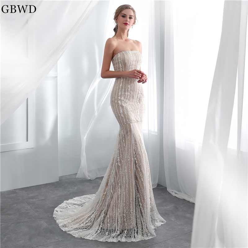 Simple Wedding Dresses 2019: 2019 Champagne Lace Mermaid Wedding Dresses Simple Elegant