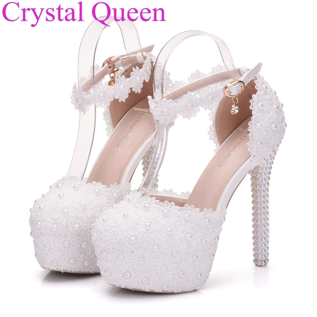Crystal Queen white lace wedding shoes pumps pearls heels women high heels  wedding party shoes white princess pumps women 4982fbc61b89