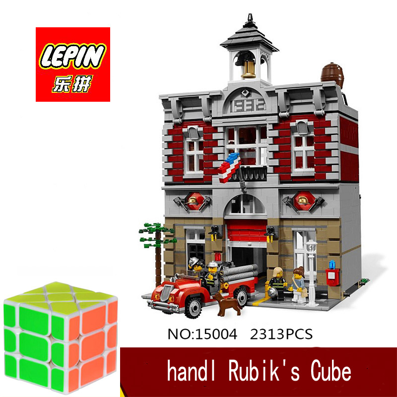 DHL Lepin 15004 2313PCS City Fire Brigade Model Doll House Building Kits Assembing Blocks Compatible With legoed 10197 dhl lepin 15004 2313pcs city fire brigade model doll house building kits assembing blocks compatible with legoed 10197