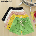 New 2016 Summer Fashion Womens Cotton Elastic Waist Shorts Candy Colored Cat Head Printing Casual Shorts For Women Short Female