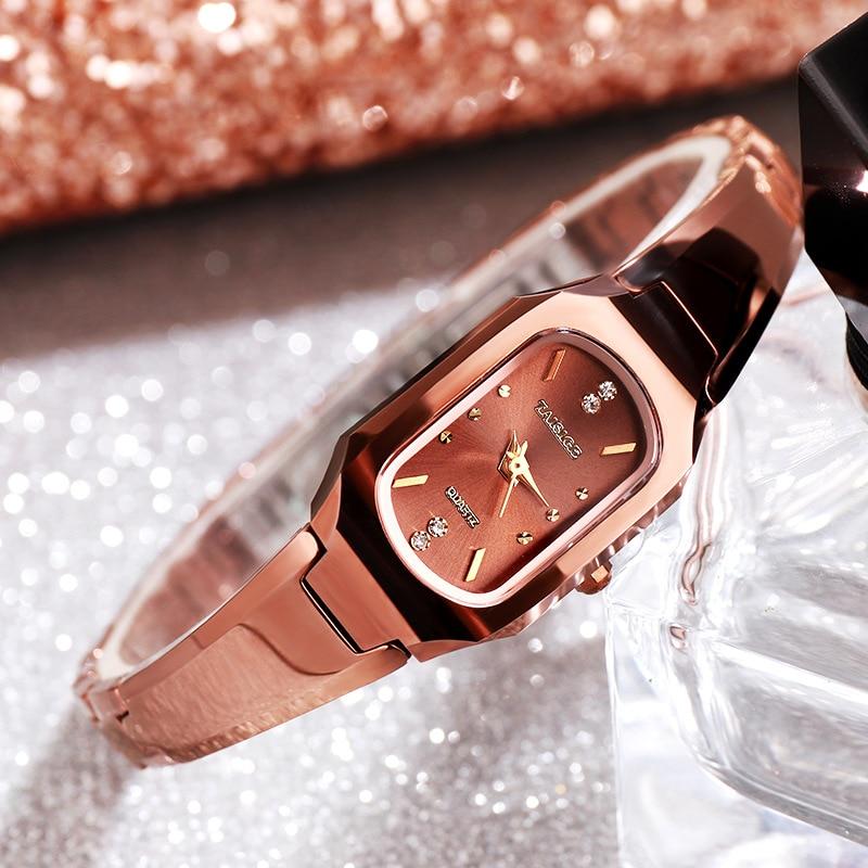 Bracelet Watch Strap Quartz Diamonds Rose-Gold Waterproof Fashion Tungsten Oval Steel