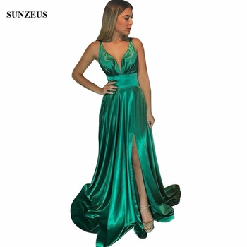 Long Green Bridesmaid Dresses Long A-line Deep V-neck Side Slit Sexy Prom Party Dress Wedding Guest Dress For Girls BDS042