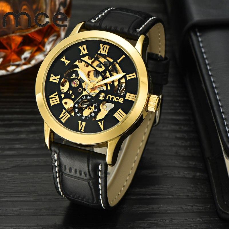 2018 nueva marca MCE relojes mecánicos automáticos para los hombres moda oro números romanos reloj correa de cuero reloj 332