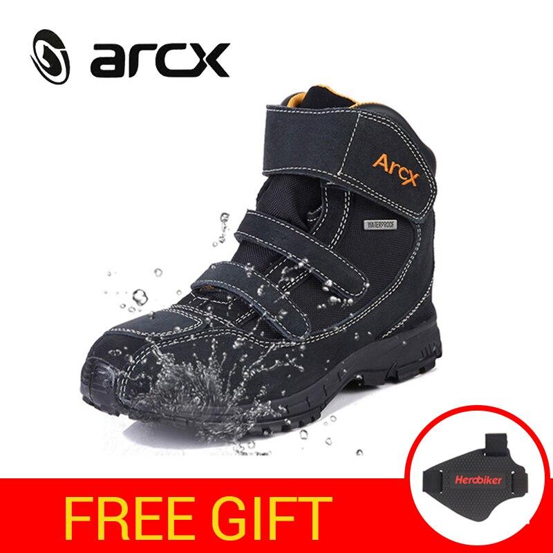 ARCX Étanche Moto Bottes Hommes Moto Chaussures Véritable Vache En Cuir Suédé Équitation Biker Chaussures Moto Botas Moto Bottes