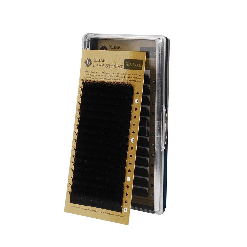 089e87b45da Blink 1pcs C Curl 0.15/0.20mm 9-13mm Silk Eyelashes Individual Eyelash Mink