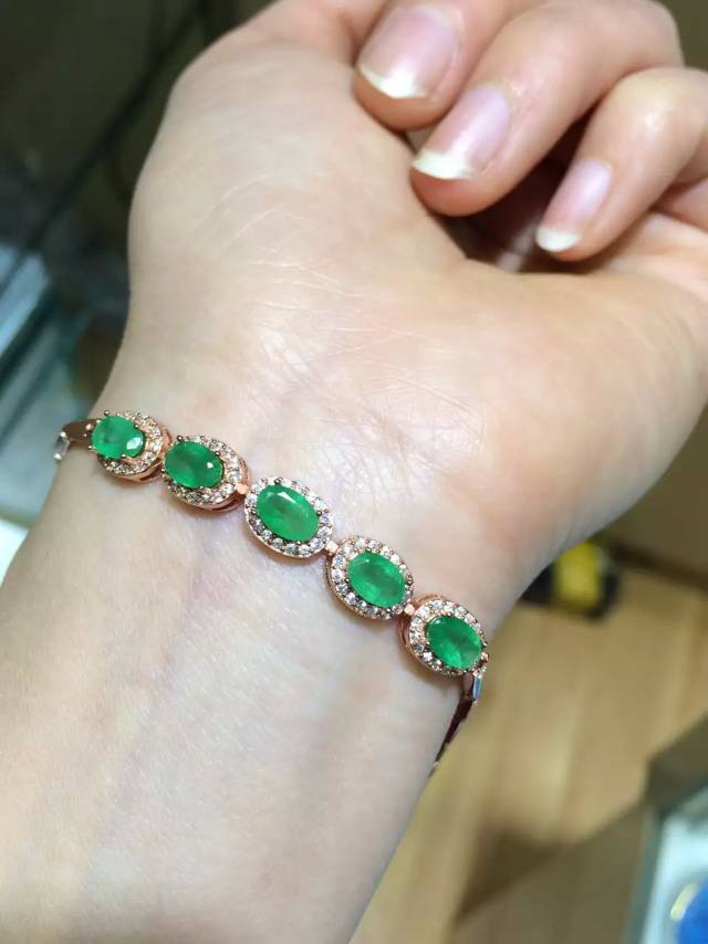 Well-known ZHHIRY Natural Emerald Gem Bracelet Genuine Solid 925 Sterling  NG14