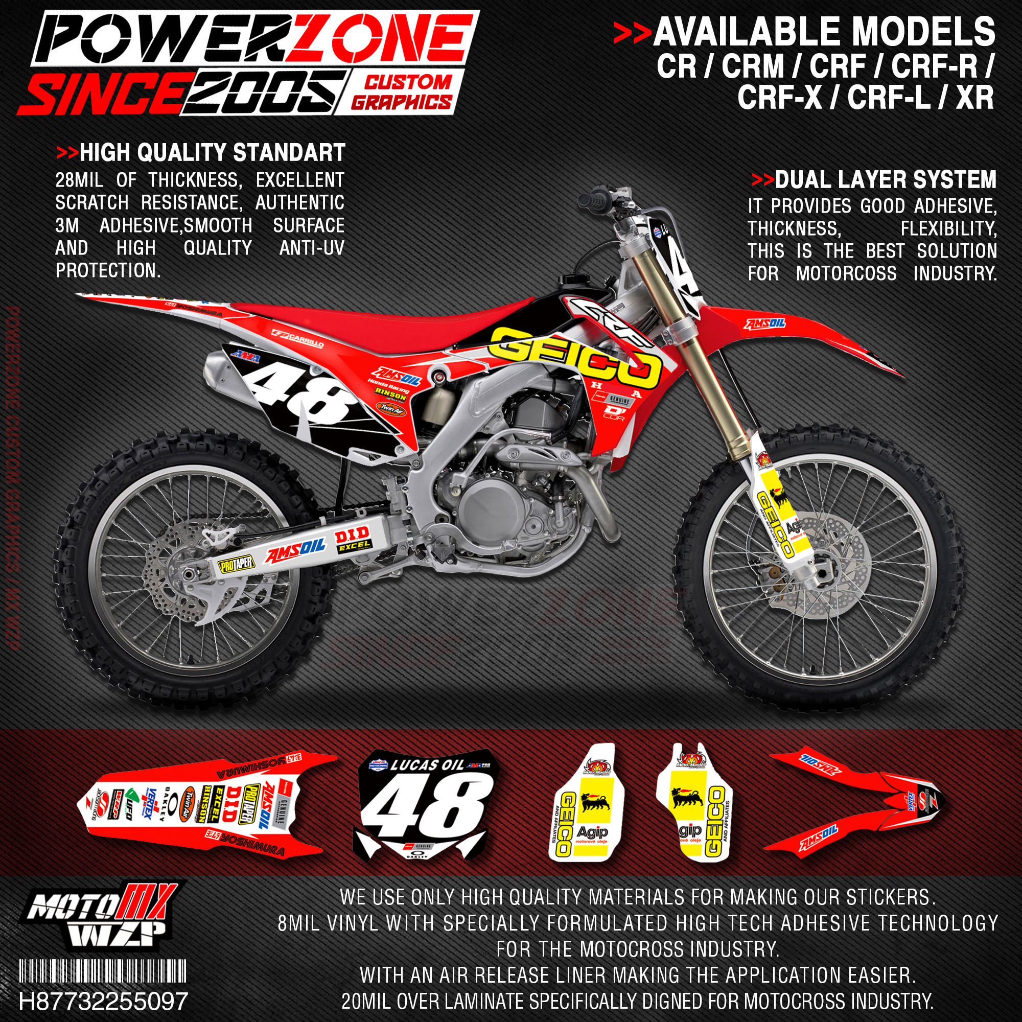 PowerZone Custom Team Graphics Backgrounds Decals 3M Stickers Kit For HONDA CRF250R 2014-2017 CRF450R 2013-2016 097