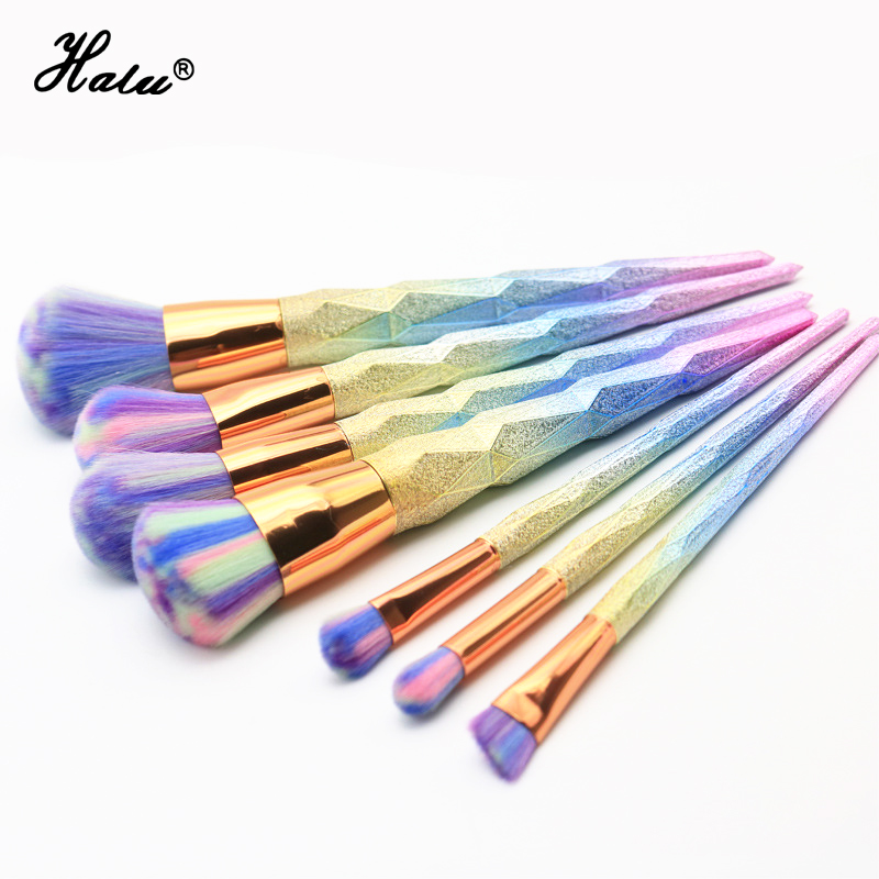 7Pcs Hot Unicorn Makeup Brushes Set Foundation Blush Blending Eyeshadow Eyeliner Lip Cosmetic Tool Kit Dianmond Shape Handle