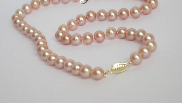 noble women gift 17INCH  GOLD CLASP HUGE 8-8.5MM GENUINE AKOYA PINK SEA WATER PEARL NECKLACE noble women gift 17INCH  GOLD CLASP HUGE 8-8.5MM GENUINE AKOYA PINK SEA WATER PEARL NECKLACE