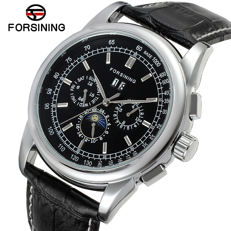 FSG319M3S1 Forsining 2015 new Automatic men luxury watch with moon phase black genuine leather strap free shipping gift box цена