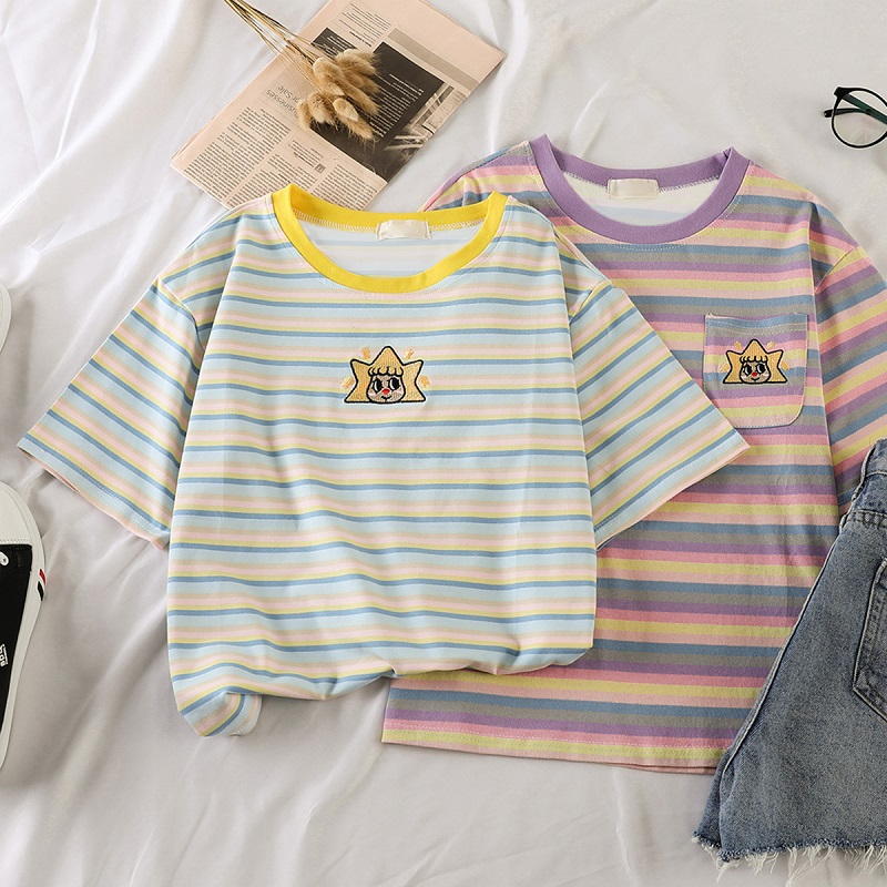 Korean Kawaii Stripped T Shirt New Fashion Clothes For Women Summer Tees Tops Embroidery 90's Girls Tshirt Harajuku Streetwear