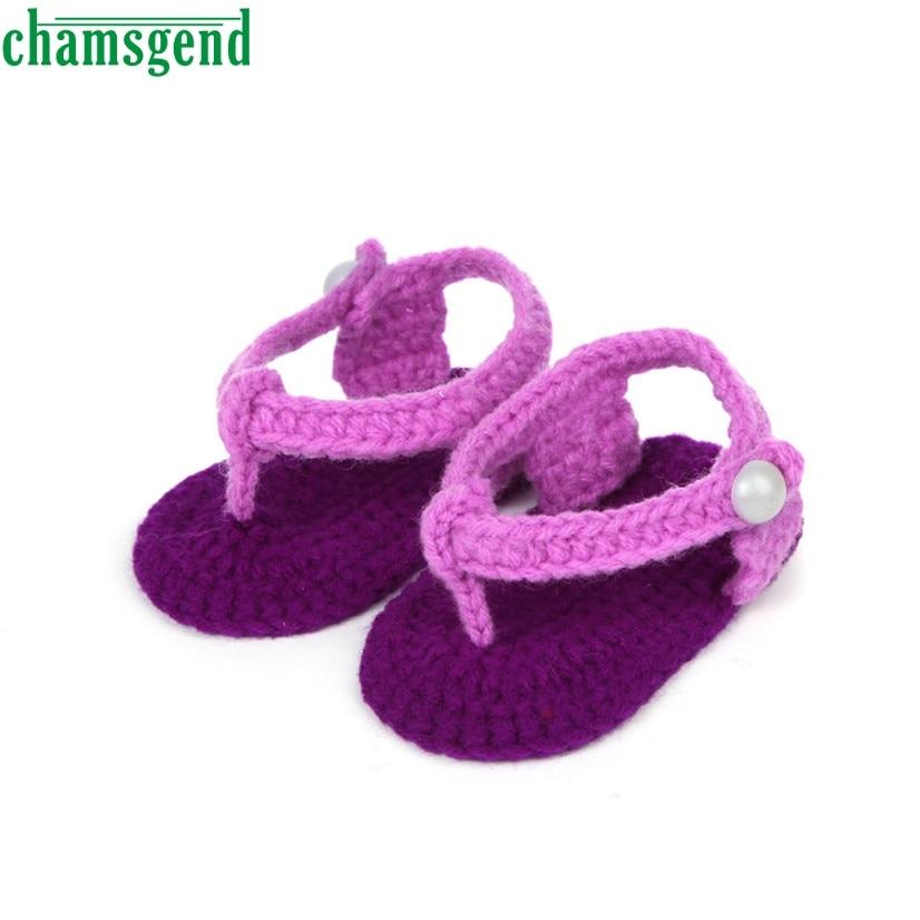 CHAMSGEND Best Seller Crib Crochet Casual Baby Girls Handmade Knit Sock Clip Toe Infant Shoes Purple S35